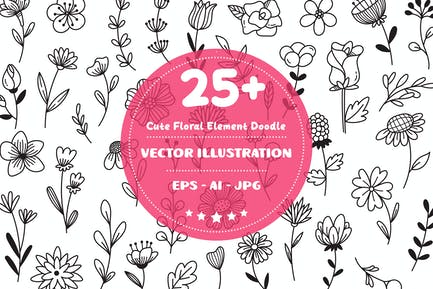 Cute Floral Element Doodle