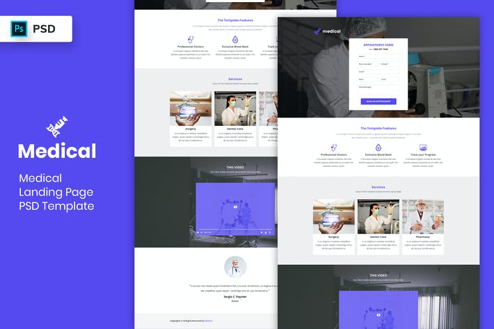 Thumbnail for Medical - Landing Page PSD Template-02