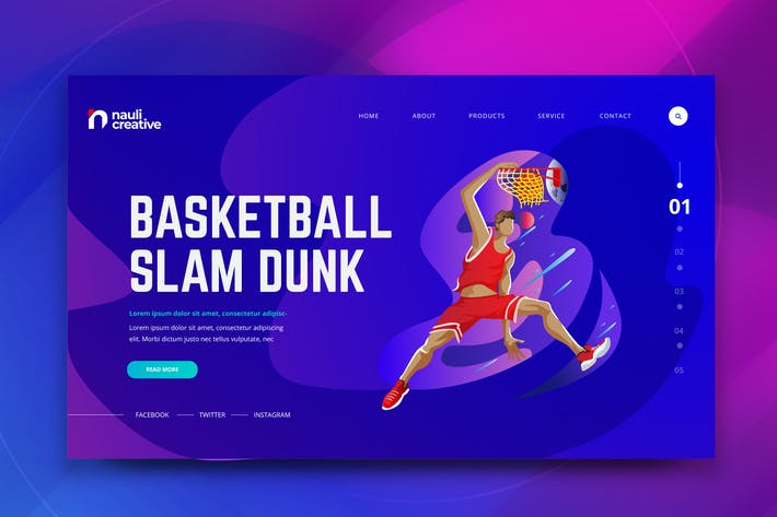 Thumbnail for Basketball Sports Web PSD and AI Vector Template