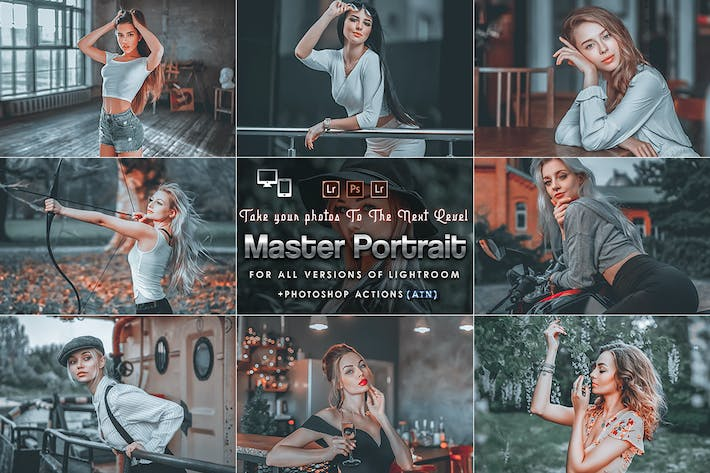 Thumbnail for Master Portrait Actions Presets (Mobile & Desktop)