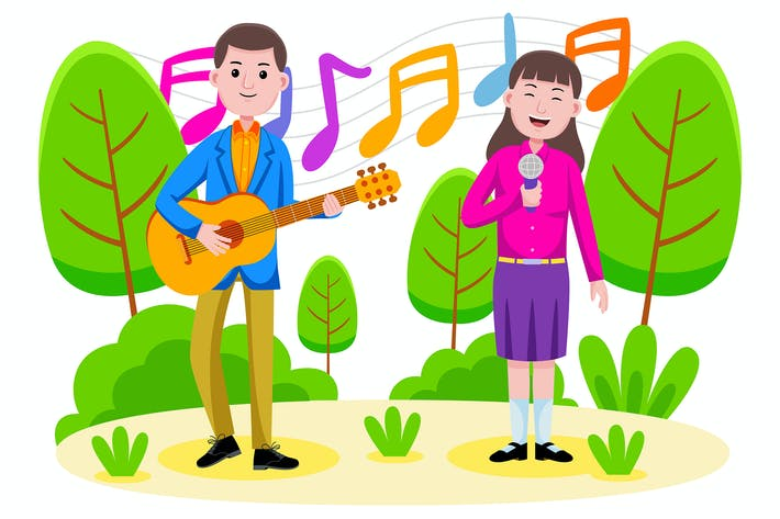 Thumbnail for Couple singing and playing the guitar at the park