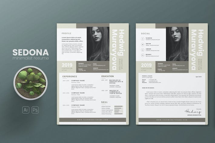 Thumbnail for Clean Minimalist CV Resume AI and PSD Flyer Vol.07