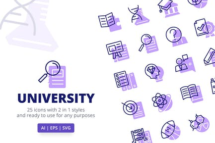 University Icons (Line and Solid)