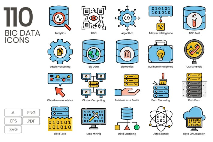 Thumbnail for 110 Big Data Line Icons