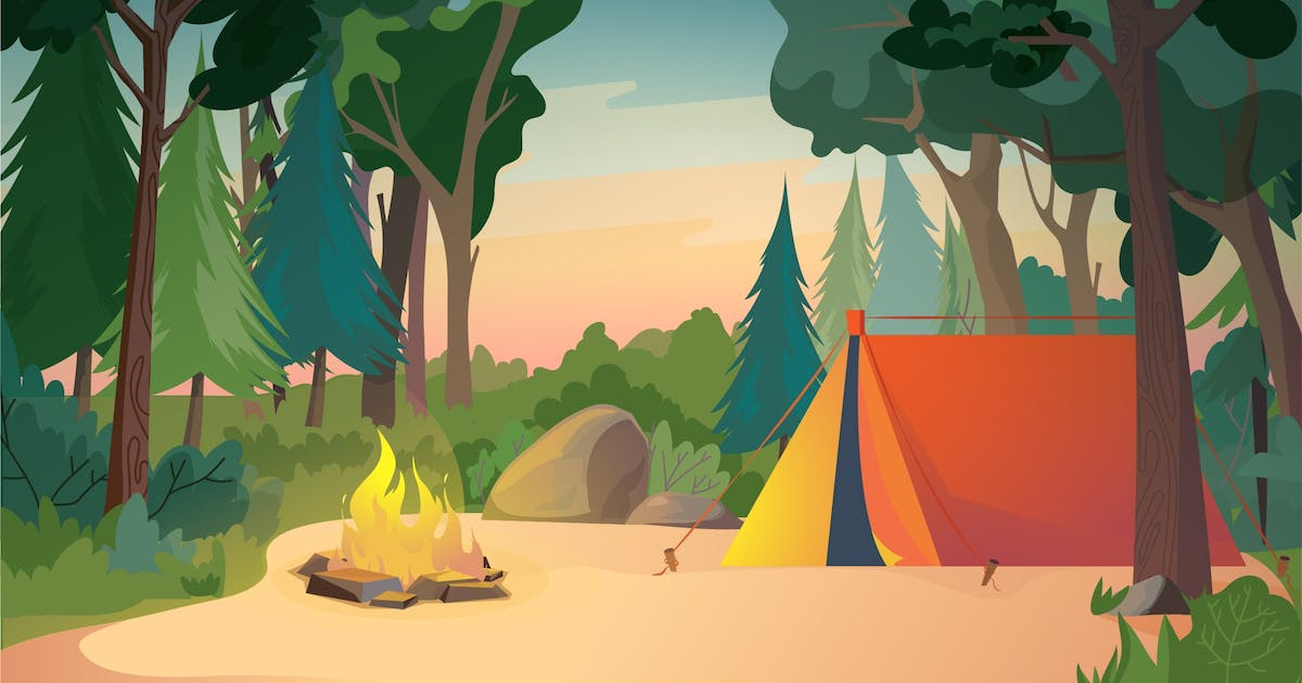 Download Camping On Meadow - Illustration Background by DesignSells