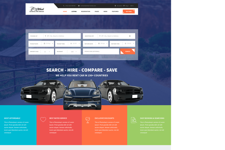 Wheel car rental booking responsive and modern