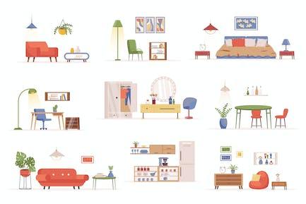 Home Furniture Flat Scene Creator Kit