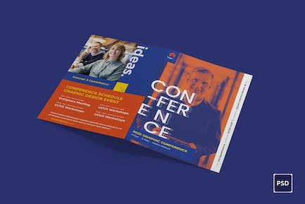 Conference BiFold Brochure PSD Template