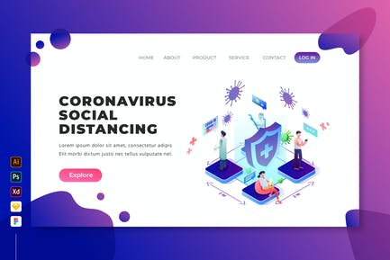 Coronavirus Social Distancing - Isometric Web Page
