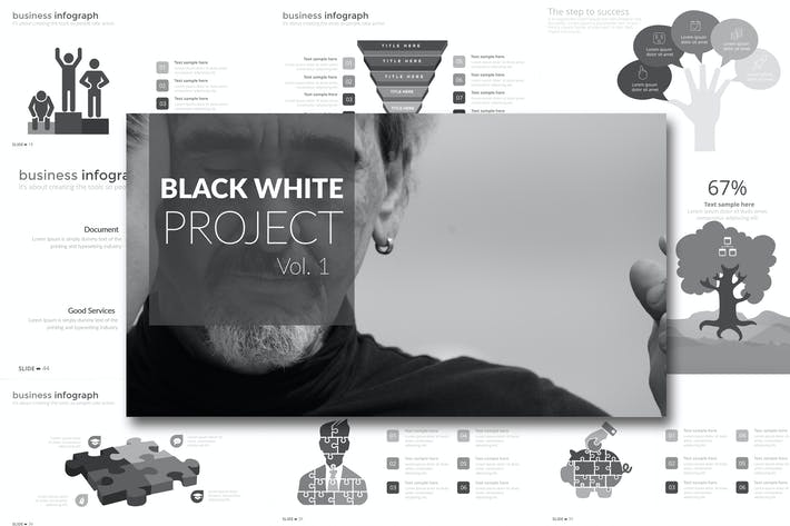 Thumbnail for Black White Project Vol. 1 Powerpoint