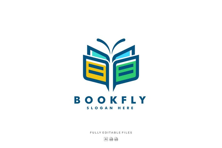 Thumbnail for Book and Butterfly Line Art Style Logo Template