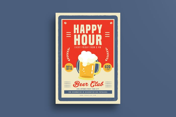 Thumbnail for Retro Old Vintage Happy Hour Beer Promotion