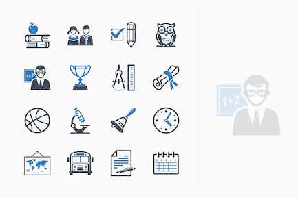 Education Icons Set 3 - Blue Series
