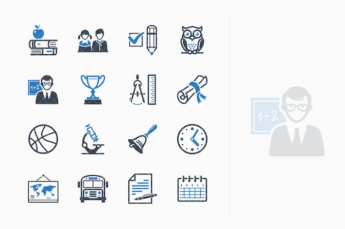 Thumbnail for Education Icons Set 3 - Blue Series
