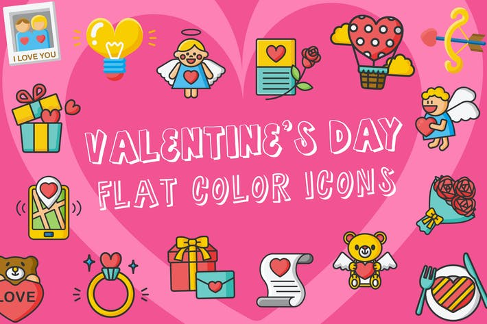 Valentine's Day Flat Color Icons