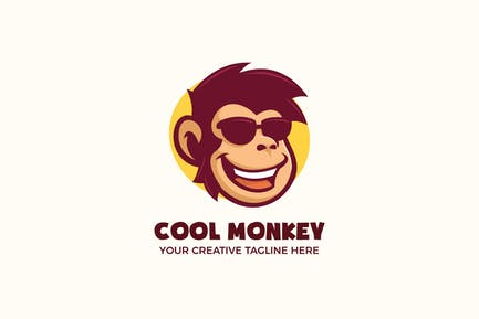 Cool Monkey Wear Lunettes Mascotte Personnage Logo