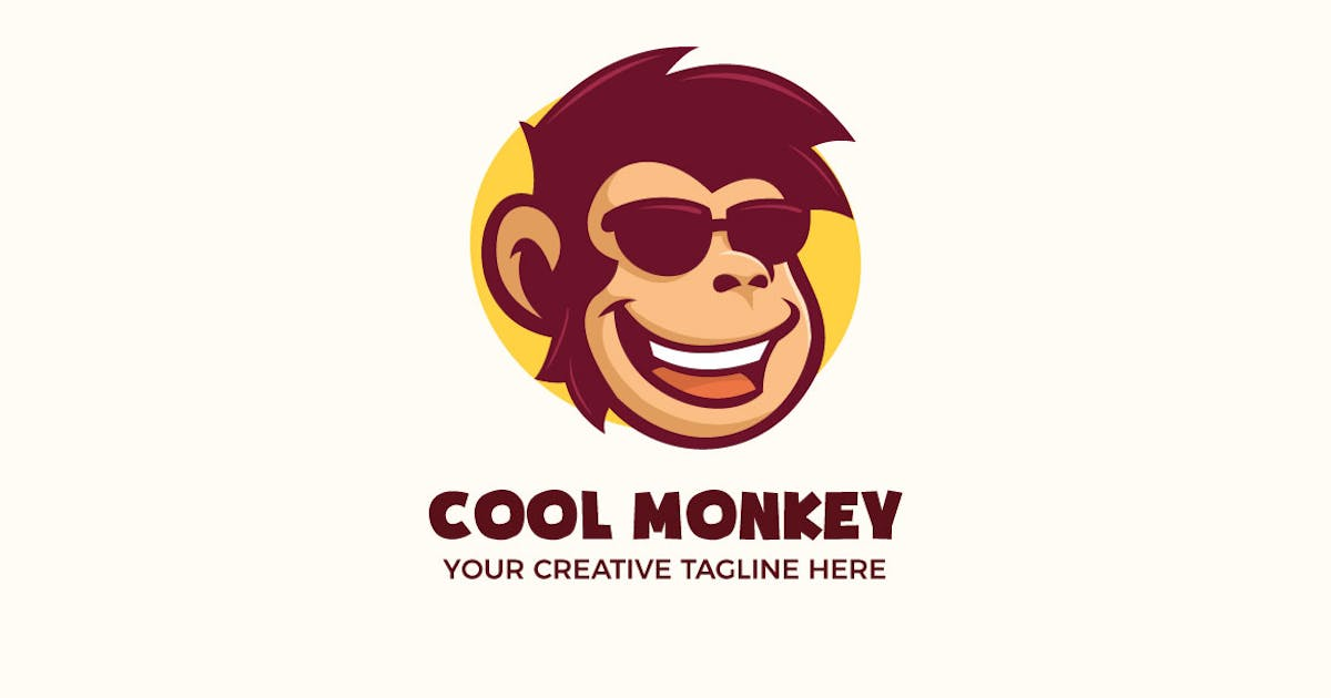 Download Cool Monkey Wear Glasses Mascot Character Logo by MightyFire_STD