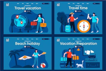 Travel Vacation Flat Concept Landing Page Template