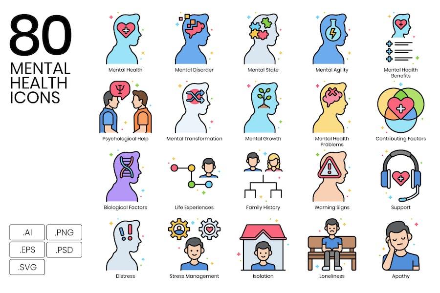 80 Icons für psychische Gesundheit - Vivid Series