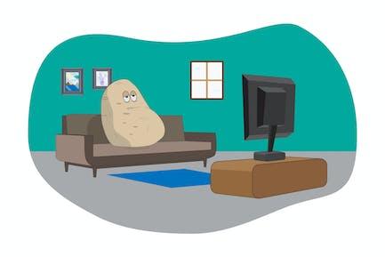 Couch Potato - Vector Illustration