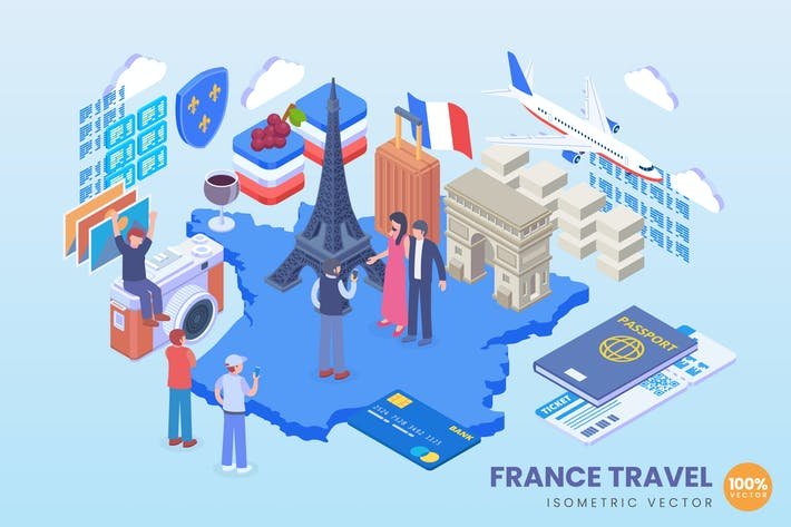 Thumbnail for Isometric France Travel Vector Concept