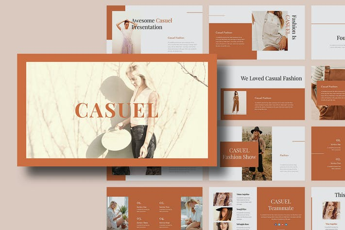 Casuel — Женская мода PowerPoint Шаблон