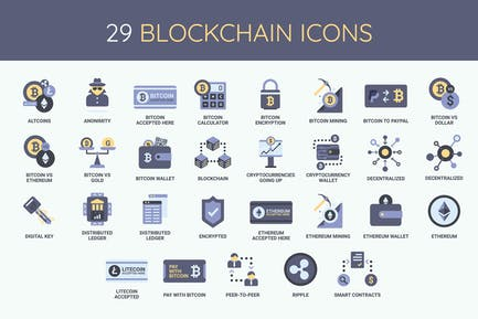 29 Blockchain, Cryptocurrency and Bitoin Icons