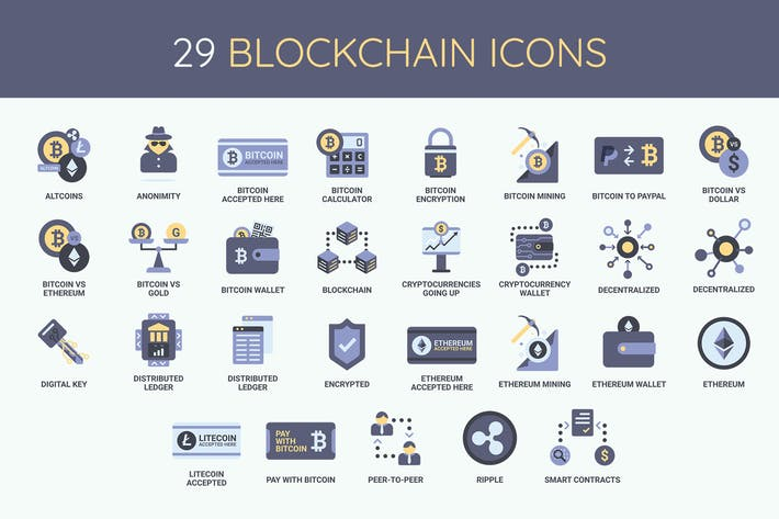 Thumbnail for 29 Blockchain, Cryptocurrency and Bitoin Icons