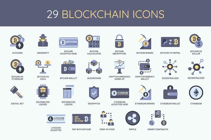 29 Blockchain, criptomonedas y Íconos de bitoin