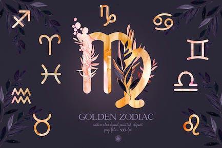 Watercolor Golden Zodiac