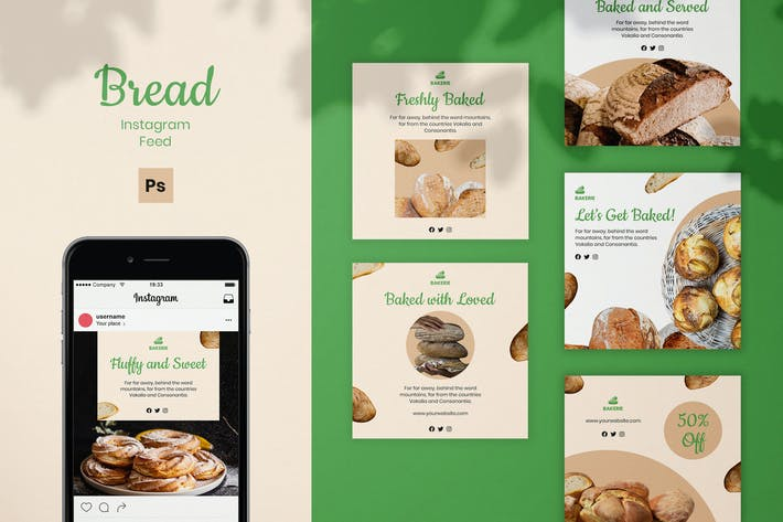 Thumbnail for Bread Instagram Feed Post Template