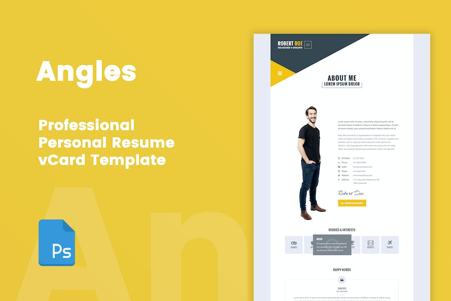 Angles - Personal Resume & vCard PSD Template