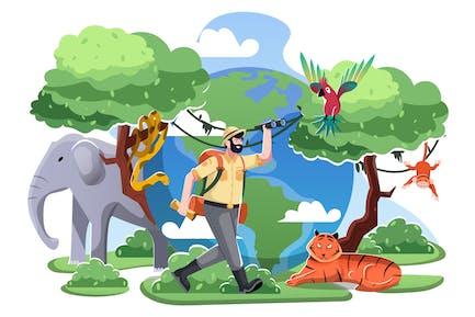 World Animal Day Flat Illustration