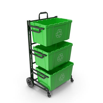 Triple Bin Recycling Cart with Bins