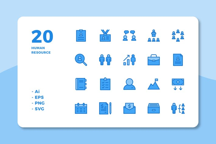 Thumbnail for 20 Human Resource Icons (Lineal Color)