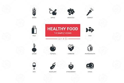 Gesundes Essen - Linie Design Icons Set