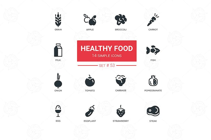 Thumbnail for Healthy food - line design icons set