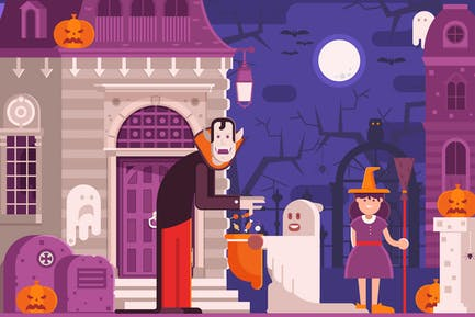Trick or Treat Children Halloween Scene