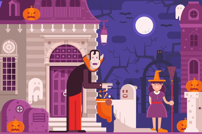 Thumbnail for Trick or Treat Children Halloween Scene