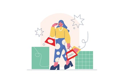 The Woman With Her Shopping Bag Illustration