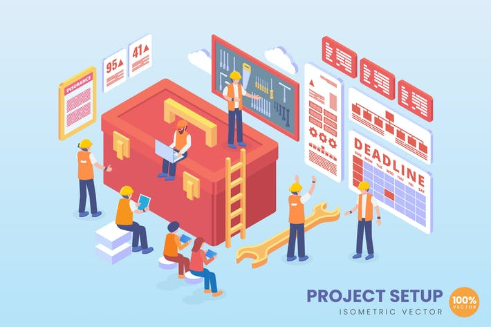 Thumbnail for Isometric Project Setup Vector Concept