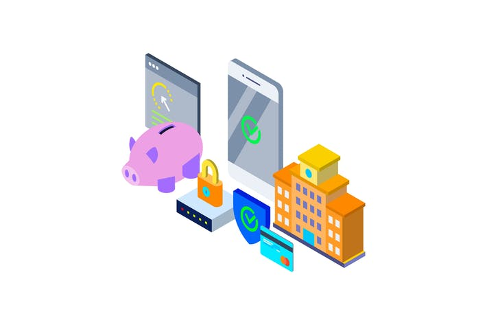 Thumbnail for Mobile Banking Isometric Illustration