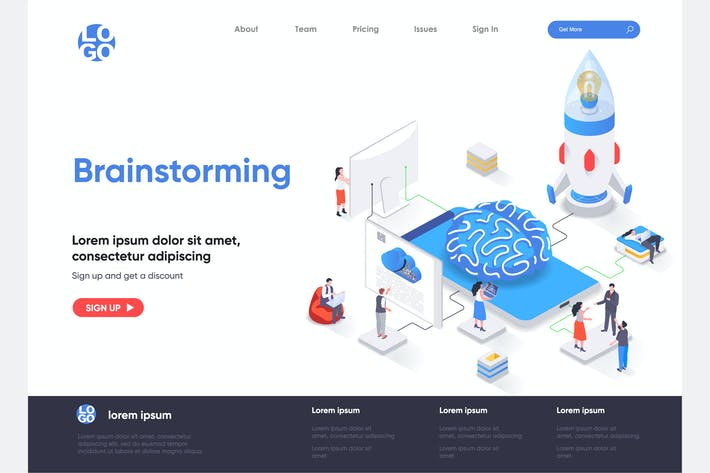 Thumbnail for Brainstorming Isometric Landing Page Template