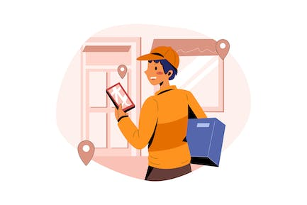 Delivery boy tracking the delivery location