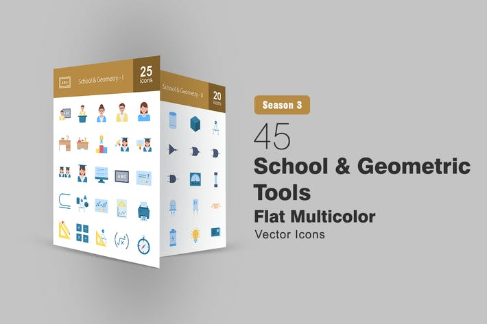 Thumbnail for 45 School and Geometric Tools Flat Multicolor Icon