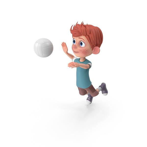 Cartoon Boy Charlie Playing Volleyball
