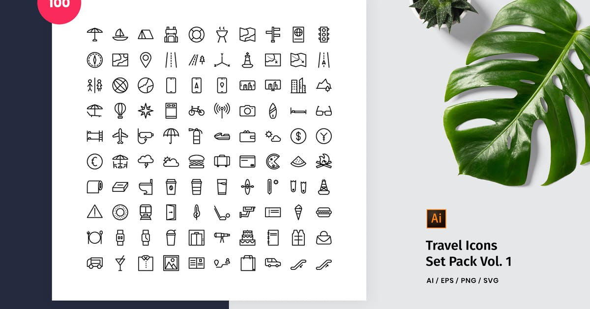 Download Travel 100 Set Icon Pack Vol. 1 by StringLabs