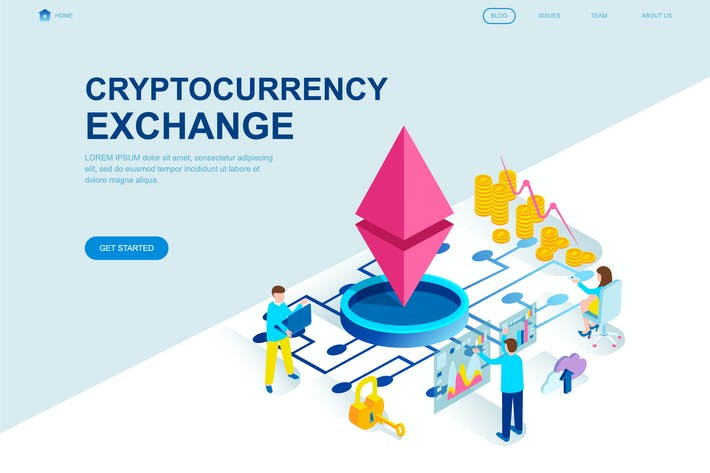 Thumbnail for Cryptocurrency Isometric Landing Page Template