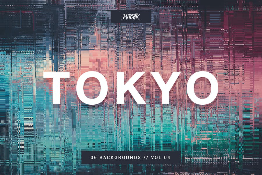 Tokyo  City Glitch Backgrounds   Vol. 04