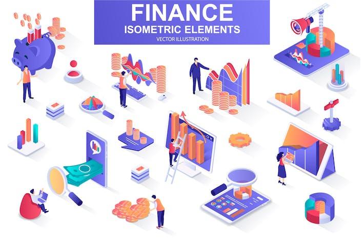 Thumbnail for Elementos de diseño isométrico financiero